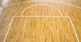 Basketball court indoor. Wooden floor basketball court indoor Royalty Free Stock Images