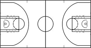 Basketball court isolated on white background. Top view vector illustration. Basketball court isolated on white background. Top view vector illustration stock illustration