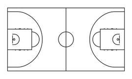 Basketball court line vector background. Outline basketball sports field. For game background area illustration royalty free illustration
