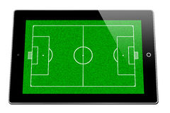Soccer court lines on iPad. Lines or markings of a soccer court drawn on an iPad Stock Images