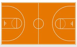Basketball court markup. Outline of lines on basketball court. vector illustration