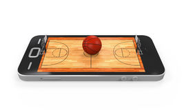 Basketball Court in Mobile Phone. Isolated on white background. 3D render Stock Photos
