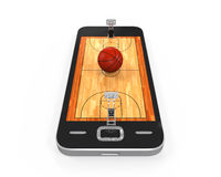Basketball Court in Mobile Phone. Isolated on white background. 3D render Stock Photo