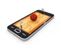 Basketball Court in Mobile Phone. Isolated on white background. 3D render Stock Images