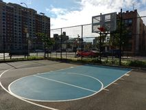 Basketball Court in New York City, USA. Half court in Hoyt Playground in Astoria, Queens, New York City, USA. This photo was taken on September 27th 2018 royalty free stock photos