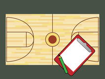 Basketball court and notepad Stock Photos