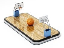 Free Basketball Court On Smartphone Screen. 3D Rendering Stock Photos - 159220303