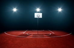 Basketball Court. Outside Basketball Court with some spotlights Royalty Free Stock Photography
