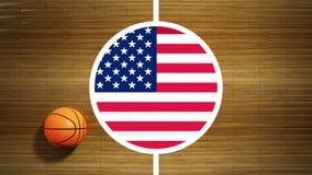 Basketball court parquet floor center Stock Images
