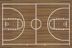 Basketball court with parquet wood board. Vector royalty free illustration
