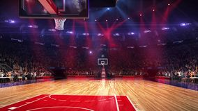 Basketball court with people fan. Sport arena. Ready to start championship. 3d render. Moving lights. With people royalty free illustration