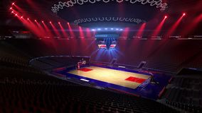 Basketball court without people fan. Sport arena. Ready to start championship. 3d render. Moving lights. Basketball court without people fan. Sport arena. Ready royalty free illustration