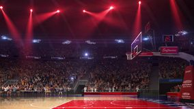 Basketball court with people fan. Sport arena. Ready to start championship. 3d render. Moving lights. With people stock illustration