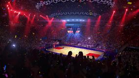 Basketball court with people fan. Sport arena. Ready to start championship. 3d render. Moving lights Confetti and tinsel. Basketball court with people fan. Sport royalty free illustration