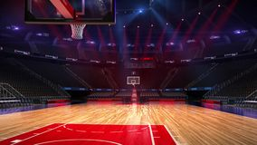 Basketball court without people fan. Sport arena. Ready to start championship. 3d render. Moving lights. Basketball court without people fan. Sport arena. Ready stock illustration