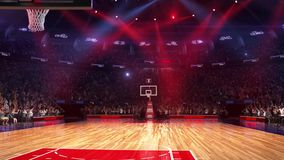 Basketball court with people fan. Sport arena. Ready to start championship. 3d render. Moving lights. Basketball court with people fan. Sport arena. Ready to royalty free illustration