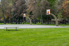 Basketball court in a public park Royalty Free Stock Photo