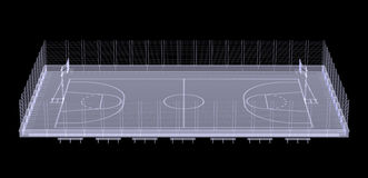 Basketball court. X-ray. 3d render isolated on a black background Stock Photo