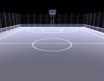 Basketball court. X-ray. 3d render isolated on a black background Stock Photos