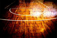 Basketball court with red brick wall Stock Photos
