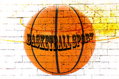 Basketball court with red brick wall Stock Image