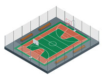 Basketball court Regen auf dem Stadion 3d übertragen Hintergrund unfocus im Abstand der reinen Spekulation Stockfotografie