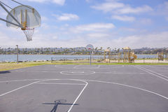 Basketball court San Diego bay. Outdoors in Southern California homes ready for real estate listings Stock Image