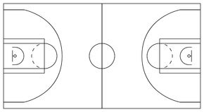 Basketball court. Scheme of plots and zones: center circle. Basketball court. Plan of lines and areas: center circle, three-point line, perimeter, low post area Stock Photo