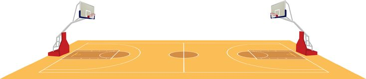 Basketball court, side view royalty free stock images