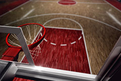 Basketball court. Sport arena. 3d render background. unfocus in long shot distance Stock Image