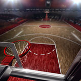 Basketball court. Sport arena. 3d render background. unfocus in long shot distance Stock Photography