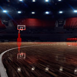 Basketball court. Sport arena. 3d render background. unfocus in long shot distance Royalty Free Stock Images