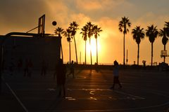 Basketball court at sunset Royalty Free Stock Photos