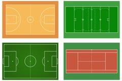 Basketball court. Tennis court. American football field. Sport s Stock Photography