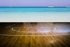 Basketball court. With view of the sea Stock Image