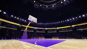 Basketball court view with spectators and spotlights Royalty Free Stock Photo