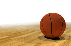 Basketball on a court, white background for text. Basketball sitting on court floorboards, neutral white background for text placement stock illustration