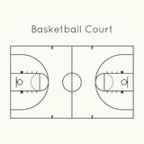 Basketball court. On a white top view. Board to parse the tactics of attack, defense stock illustration