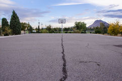 Basketball court. A wide angle of a basketball court Stock Photos