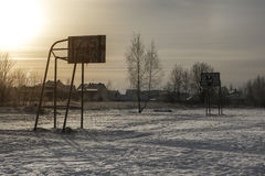 Basketball court in winter Royalty Free Stock Images