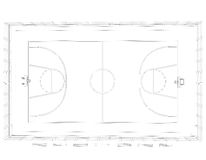 Basketball court. Wire frame Royalty Free Stock Images
