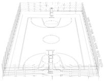 Basketball court. Wire frame. 3d render isolated on a black background Royalty Free Stock Photos