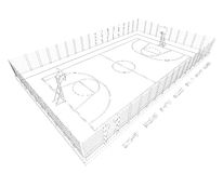 Basketball court. Wire frame Stock Images