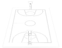 Basketball court. Wire frame. 3d render isolated on a black background Stock Images