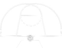 Basketball court. Wire frame. 3d render isolated on a black background Stock Image