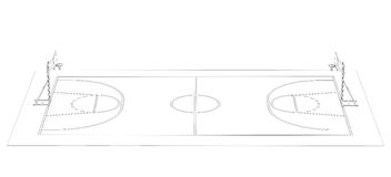 Basketball court. Wire frame. 3d render isolated on a black background Royalty Free Stock Images