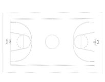 Basketball court. Wire frame. 3d render isolated on a black background Stock Photos