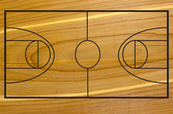 Basketball court on wood Royalty Free Stock Images