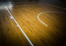 Basketball court. Wooden floor basketball court indoor Royalty Free Stock Photography