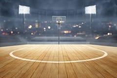 Basketball court with wooden floor, lights reflectors, and tribune